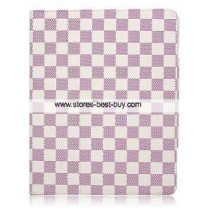 Tartan Leather Case for Apple iPad Purple Color