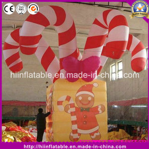 Hot Christmas Decoration Inflatable Candy Cane Gift Box pictures & photos