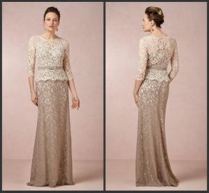 3/4 Long Sleeve Evening Dress Floor Length Lace Prom Dress W1471916 pictures & photos