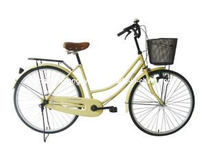 Yellow Women Bicycle with Steel ED Crank&Chain Wheel (SH-CB127) pictures & photos