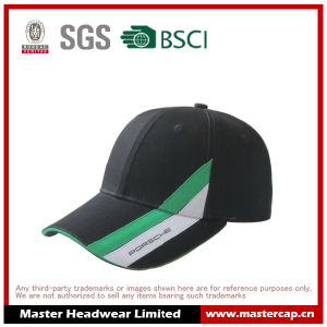 Black 100% Cotton Sandwich Brim Baseball Cap with Printing pictures & photos