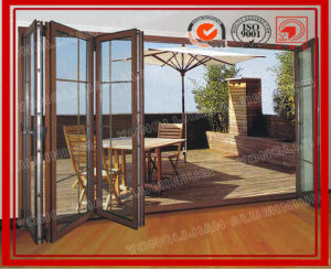 Wooden Color Aluminium Bi Folding Door with Double Glazed pictures & photos