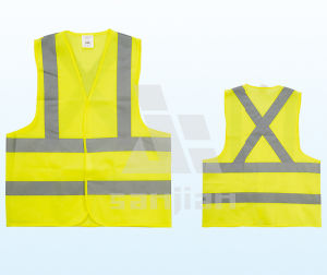 Jy-7008 Yellow Polyester Reflective Safety Vest pictures & photos