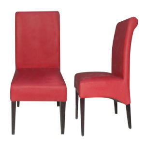 Elegant Red Leather Upholstered Metal Restaurant Dining Chairs (DC-034) pictures & photos