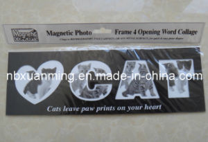 4 Opening Word Collage Cat Magnetic Photo Frame