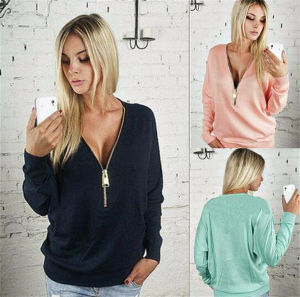 Women Sexy Deep V-Neck Long-Sleeved Zipper Sweater (80020) pictures & photos