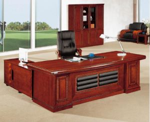 E1 MDF Veneer Executive Office Desk Glossy Office Furniture (HX-RD025) pictures & photos