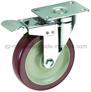 3inch Medium Sized Biaxial Bordeaux PVC Caster Wheels with Brake pictures & photos
