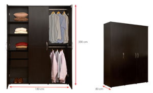 Melamine Laminated MFC Wooden Wardrobe (HX-DR221) pictures & photos