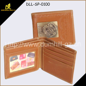 Promotion Trendy Men Wallet PU Brown with Customized Metal Plate Logo