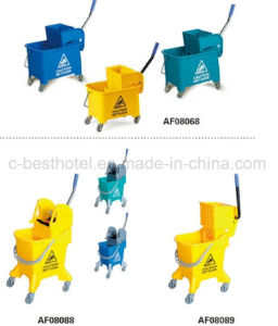 Hotel Use Cleaning Mop Bucket with 4 Wheels pictures & photos