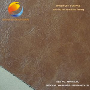 Artificial Leather for PU Shoe with Brush off Surface Fpa16m29d pictures & photos