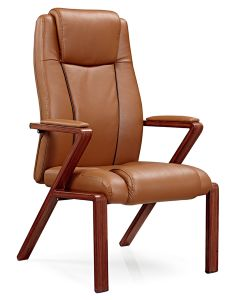 Modern Brown Leather Wooden Office Chair for Visitor pictures & photos