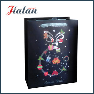 Black Matte Customize Christmas Logo Cheap Paper Gift Bags pictures & photos