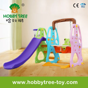 2017 Fashion Color Plastic Toys with Slide and Swing Set (HBS17024A)
