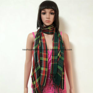100% Polyester, Voile Material Yarn Dyed Scarf with Checks pictures & photos