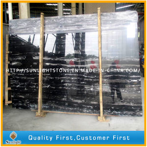 China Black Silver Dragon Marble Slabs for Flooring Tiles and Worktops pictures & photos