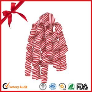 Strip Pattern Curling Ribbon Bow for Christmas Decorative Bow pictures & photos