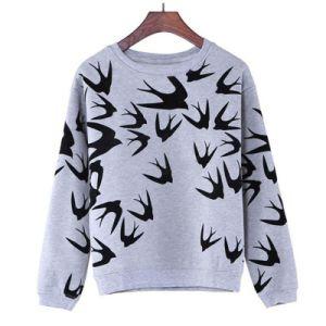 Custom Women Cotton Fleece Fashion Crewneck Sweatshirts Sports Pullover Top Clothing (AL073)