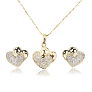 Fashion Ladies Earrings and Necklaces Micro Pave Zircon 18kgp Heart Gold Jewelry Set pictures & photos