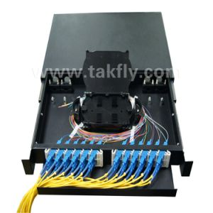 FTTH 24 Ports Slidable Rackmount 1u 19 Inch Fiber Optic Patch Panel pictures & photos