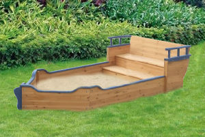 Boat Style Wooden Sandbox Popular Playset Sandpit (06)