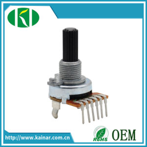 6 Pins 17mm Carbon Rotary Potentiometer with Insulated Shaft Wh0172A-1 pictures & photos