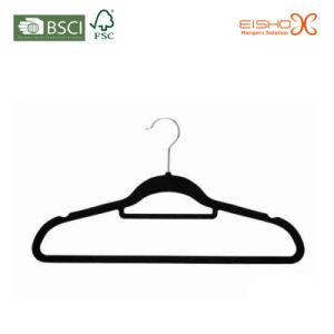 Space Saving Non-Slip Black Velvet Clothes Hanger for Closet (TSCY0014) pictures & photos