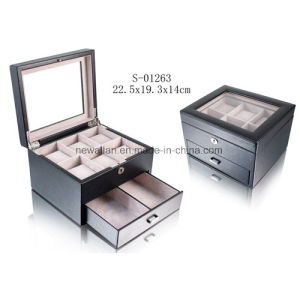 New Design Black PU Storage Wooden Watch Box with Drawer pictures & photos