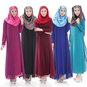 2017 Muslim Chiffon Kaftan, Islamic Long Sleeve Arab Abaya (A187) pictures & photos