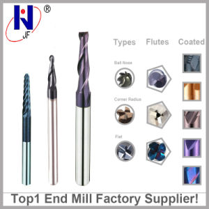 Solid Carbide 2 3 4 Flutes Taper Ball Nose End Mill Cutters Taper Square Flat End Mill pictures & photos