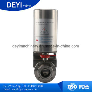 Hygienic Pneumatic Butterfly Valve with Control Cap pictures & photos
