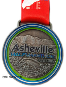 Award Medal for Asheville Half Marathon, Finisher with Printing Ribbon