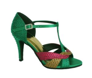 Green Satin Tango/Latin Dance Shoes with Diamond pictures & photos