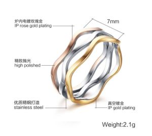 Three Colors Jewelry Stainless Steel Irregular Ring pictures & photos