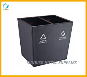 Hotel Leather Waste Paper Bin with Two Compartments pictures & photos