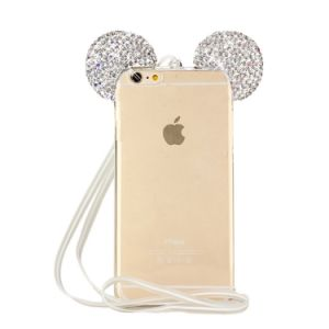 3D Bling Bling Crystal Rhinestone Ears Clear TPU Rubber with Removable Strap Case for Apple iPhone 6s Plus pictures & photos