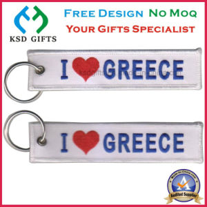 Customized I Love Greece Design Embroidery Design with Key Ring pictures & photos