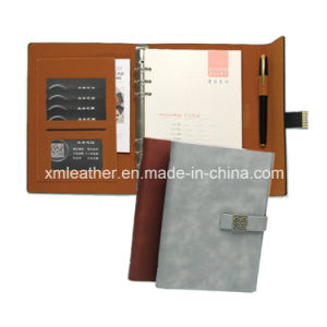 Real Leather Refilable Journal Trifold Diary with Ring Binder pictures & photos
