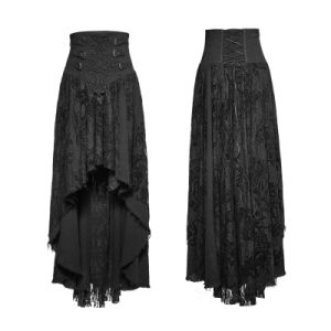 Q-313 Fancy Palace Black High Waist Flower Embroidery High Low Skirt pictures & photos