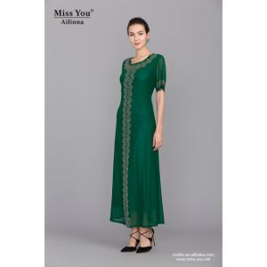 Miss You Ailinna 305167 OEM Elegant Ladies Maxi Dress Green Cool Dress pictures & photos