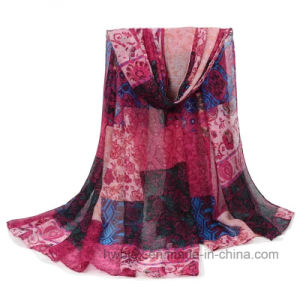 Cheap Chinese Stylish Printed Cotton Imitation Stole / Polyester Fashion Scarf (HWBPS021) pictures & photos