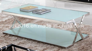 Modern Tempered Glass 2 Layers Stainless Steel Coffee Table pictures & photos