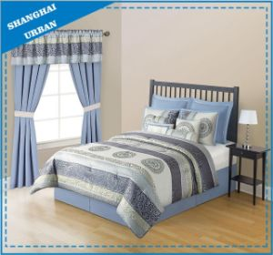 7 Piece Light Blue Jacquard Polyester Comforter Set pictures & photos