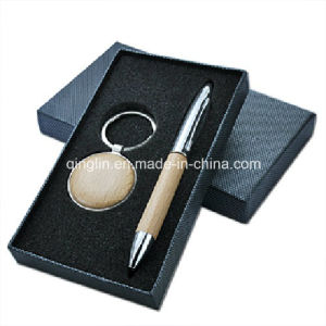 Wooden Round Shape Keychain and Pen Gift Set (QL-TZ-0061) pictures & photos