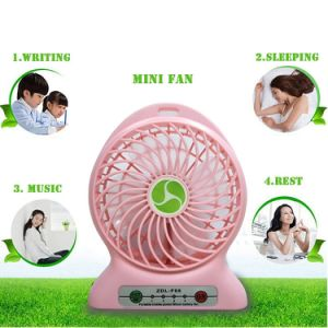 Portable Lithium Battery Fan 4-Inch Vanes 3 Speeds Rechargeable Desktop Fan pictures & photos