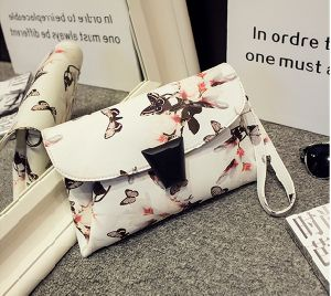 Guangzhou Supplier Printing PU Leather Women Hand Bag Cross Bag Cltuch Purse (D006)