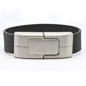 Hot Sale High Quality Portable Leather (PU) Wristband USB Flash Drive pictures & photos