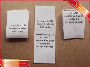Printed Cotton Care Label Garment Wash Cotton Label pictures & photos