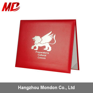 Wholesale Custom Leather Diploma Certificate Cover with Foil Silver Stamping pictures & photos